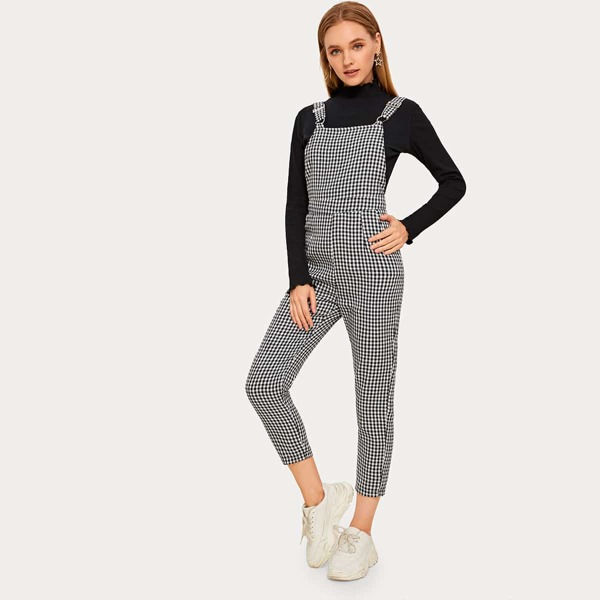 Gingham Straight Leg Cropped Overall