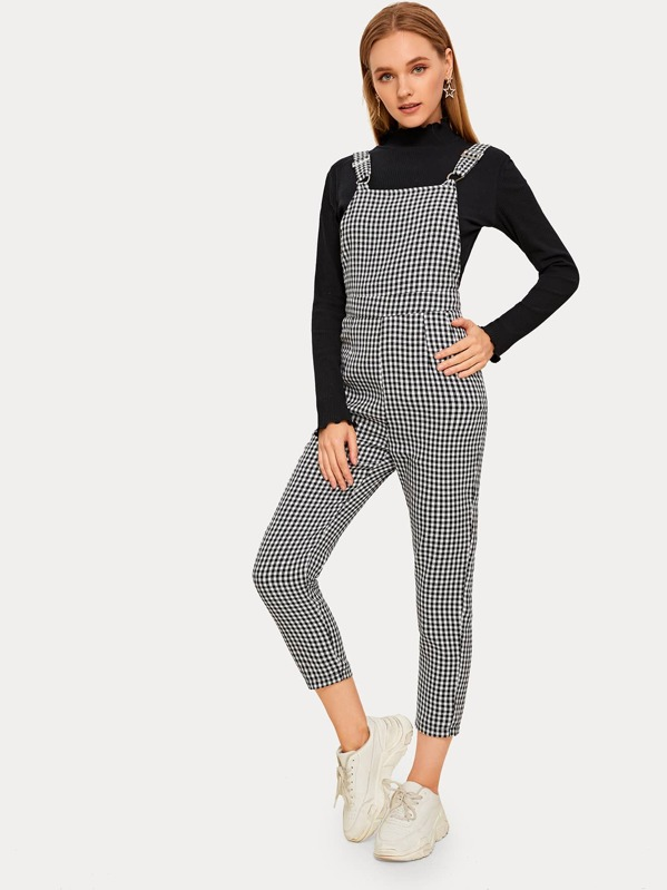 Gingham Straight Leg Cropped Overall, Sava