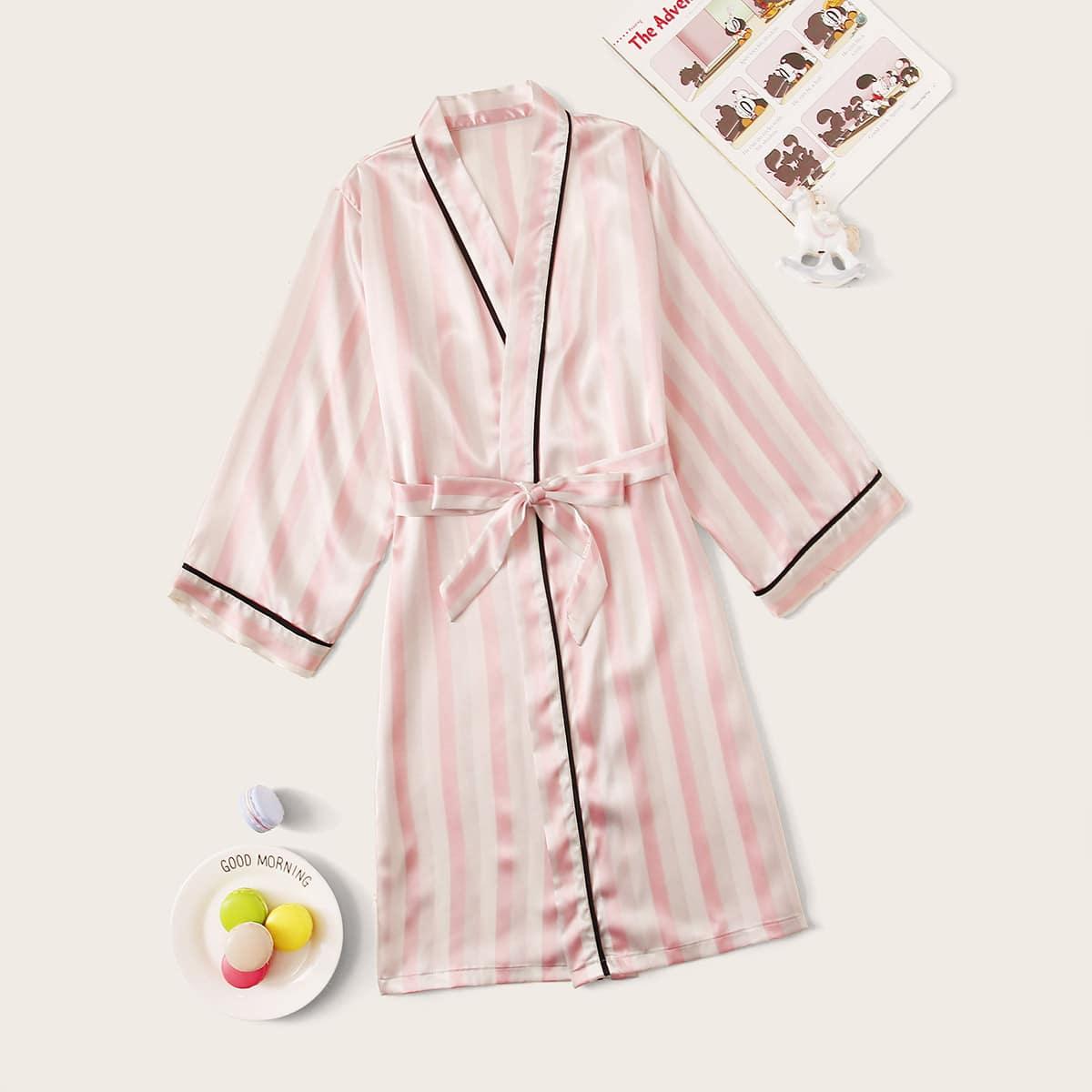 Полосатый атласный халат с поясом для девочек от SHEIN