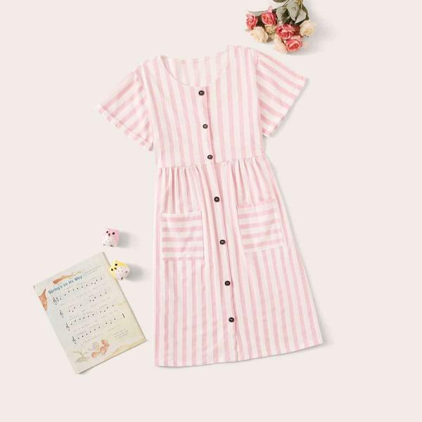 Girls Striped Button Front Night Dress, Pink
