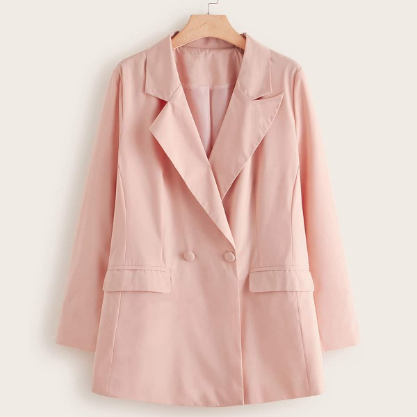 Plus Lapel Neck Double Breasted Blazer, Pink