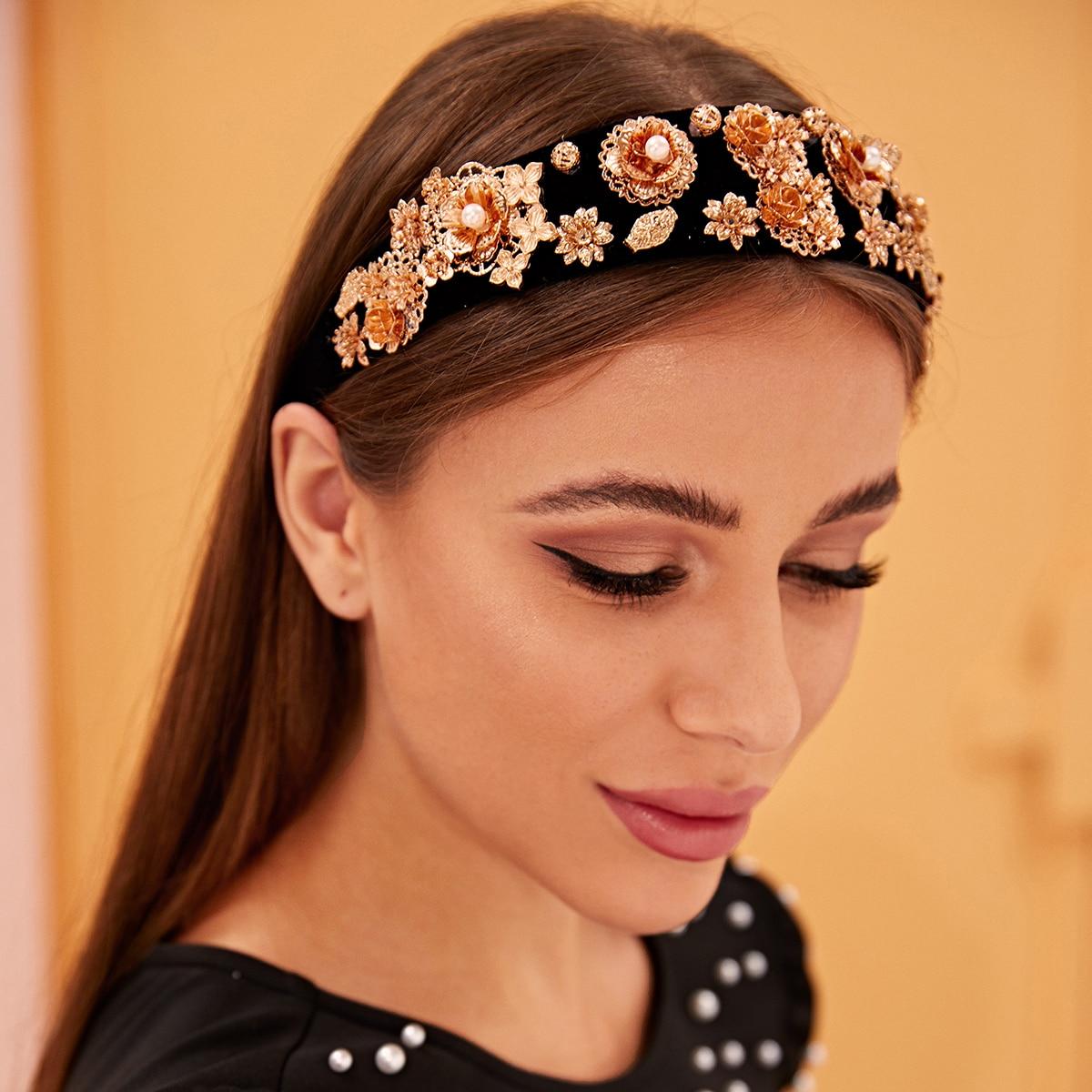 SHEIN / Stirnband mit Kunstperlen & Metallischer Blume Dekor