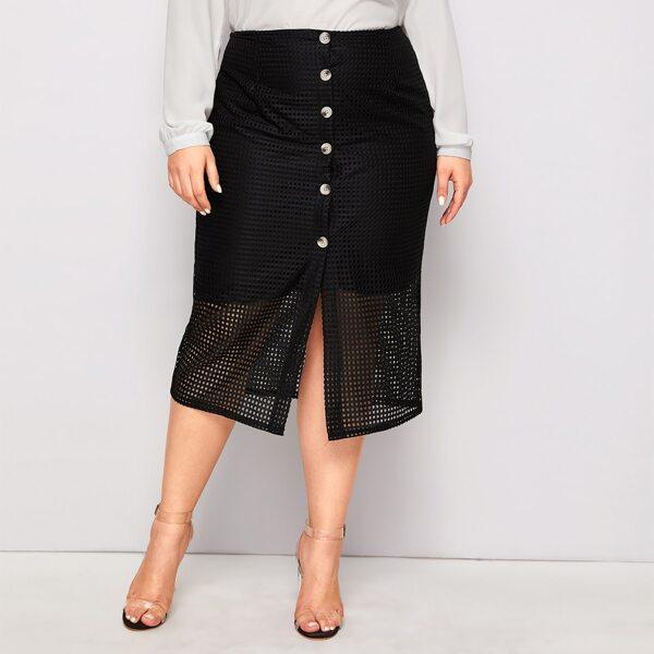 Plus Contrast Fishnet Button Front Straight Skirt