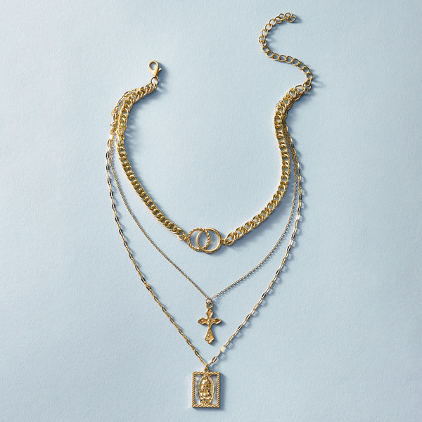 1pc Cross & Link Charm Layered Necklace, Gold