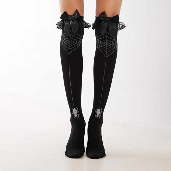 1pair Bow Knot Decor Knee Length Socks