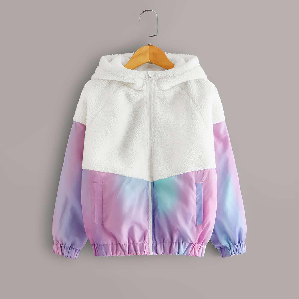 Разноцветная плюшевая куртка с капюшоном на молнии для девочек от SHEIN