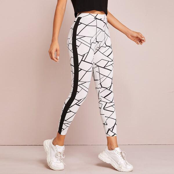 Striped Side Geo Print Leggings, White