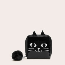 Pom-pom Decor Cat Print Zip Around Purse (swbag03190925321) photo