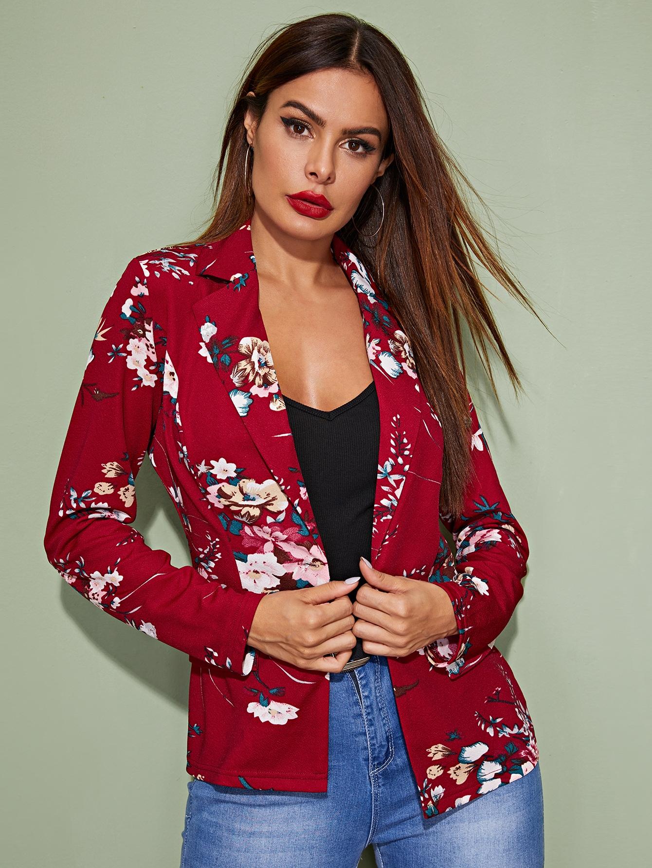 Пиджак на пуговицах с цветочным принтом