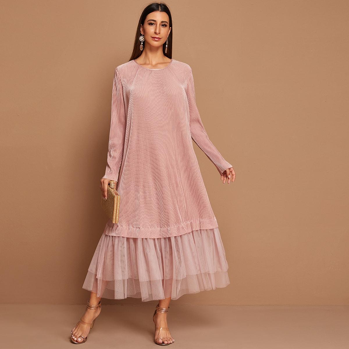 Roze  Elegant Vlak Arabische Kleding Contrast mesh