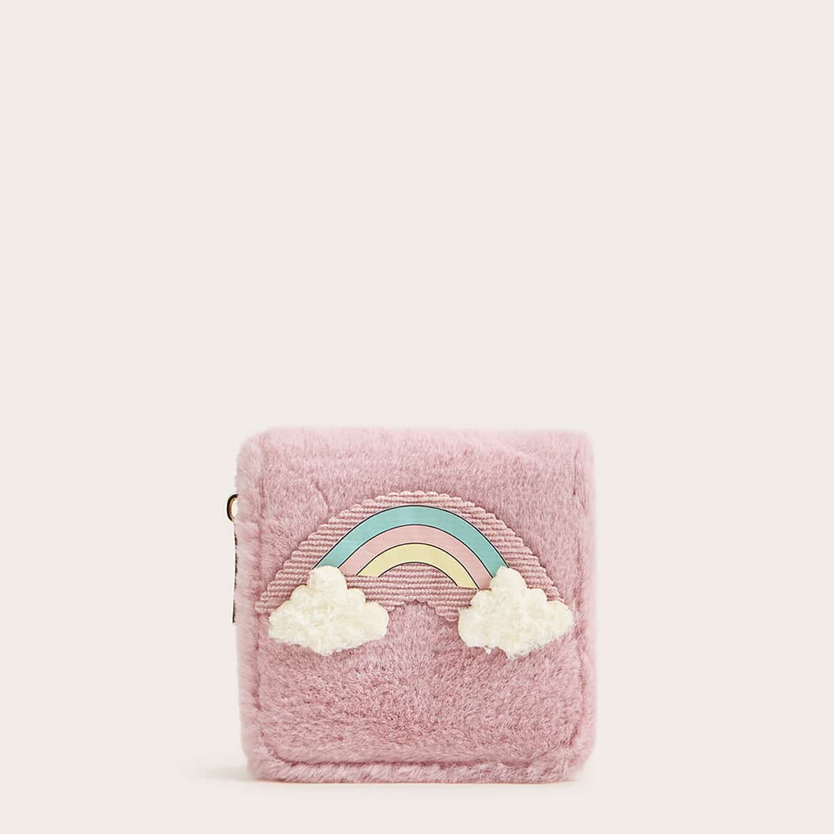 Rainbow Faux Fur Zip Around Purse (swbag03190925712) photo