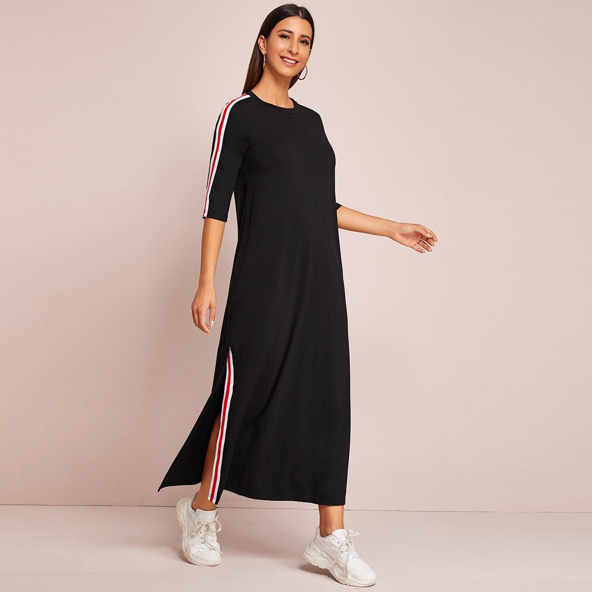 SHEIN / Vestido bajo con abertura con cinta de rayas en contraste