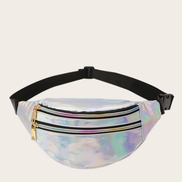 Kids Double Zip Front Holographic Fanny Pack