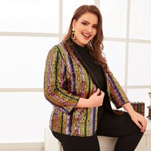 Plus Shawl Collar Sequin Blazer