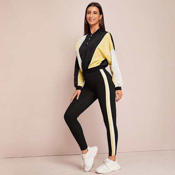 Colorblock Windbreaker Jacket & Striped Side Leggings Set, Black