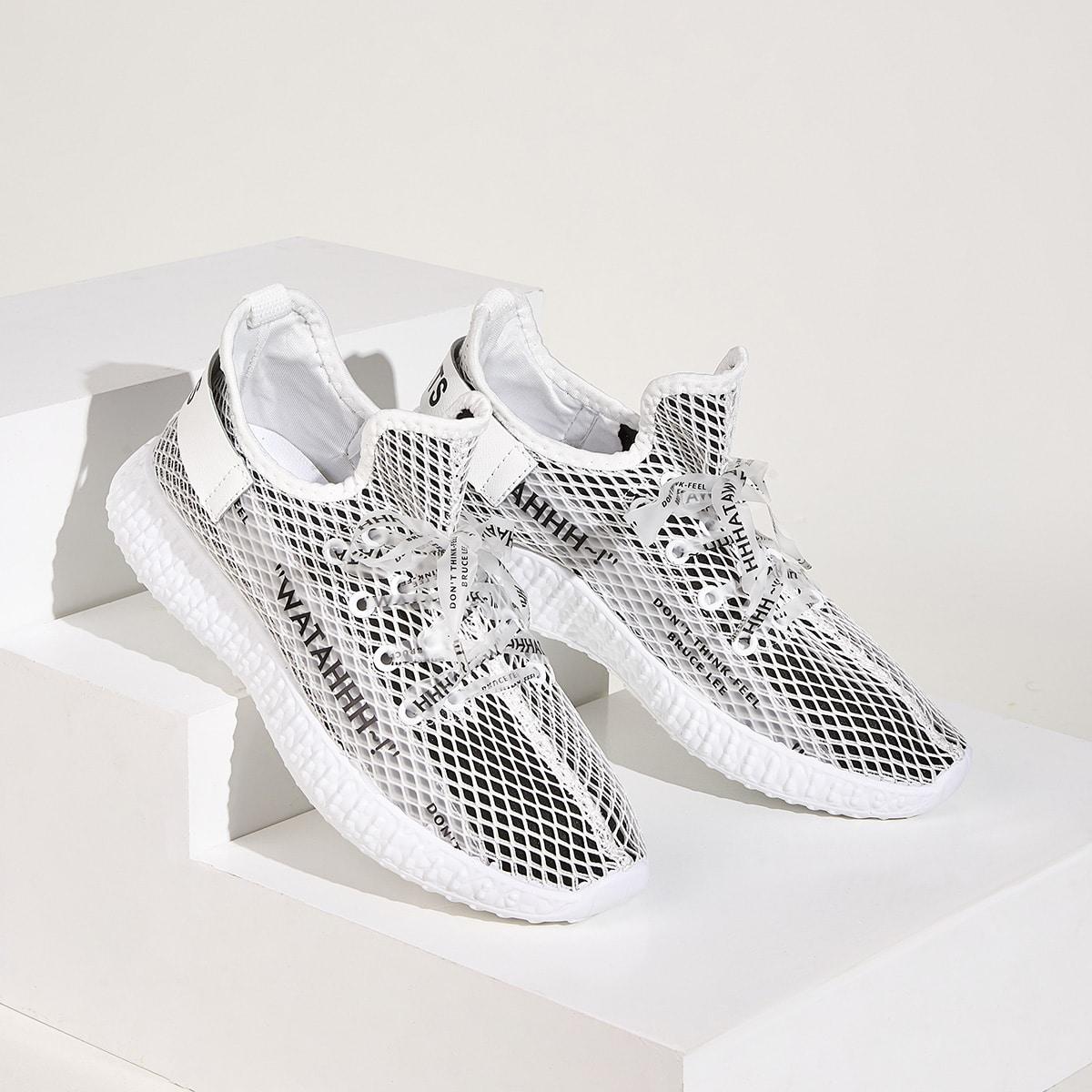 Wit Comfortabel Tekst Heren sneakers