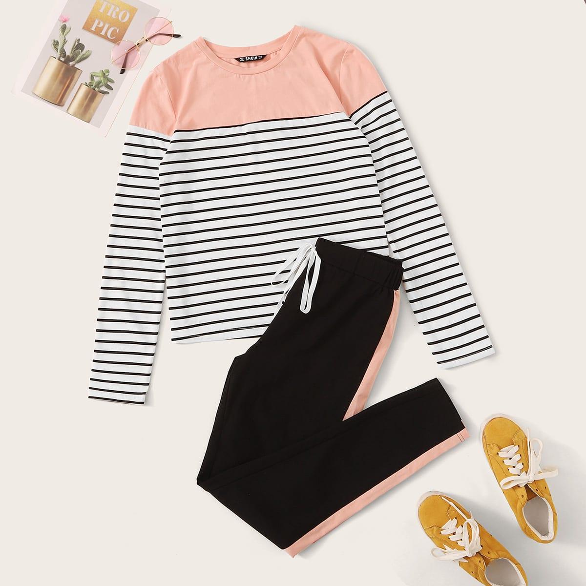 Контрастная полосатая футболка и брюки с полосками от SHEIN