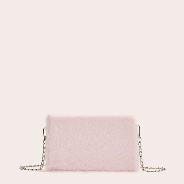 Faux Fur Fluffy Chain Bag, Pink