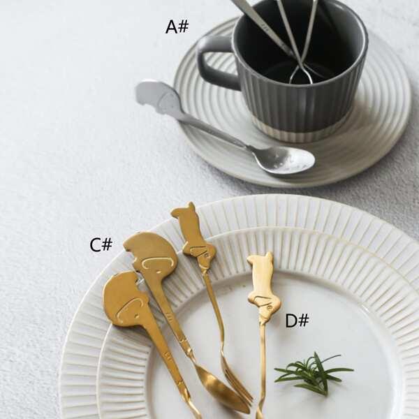 2pcs Elephant & Dog Design Spoon With Fork Set
