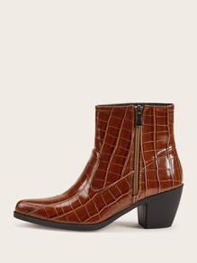 Point Toe Crocodile Embossed Chunky Boots