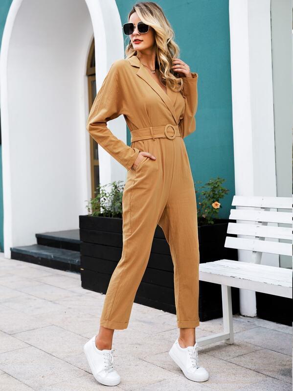 Simplee Rolled Hem Belted Blazer Jumpsuit