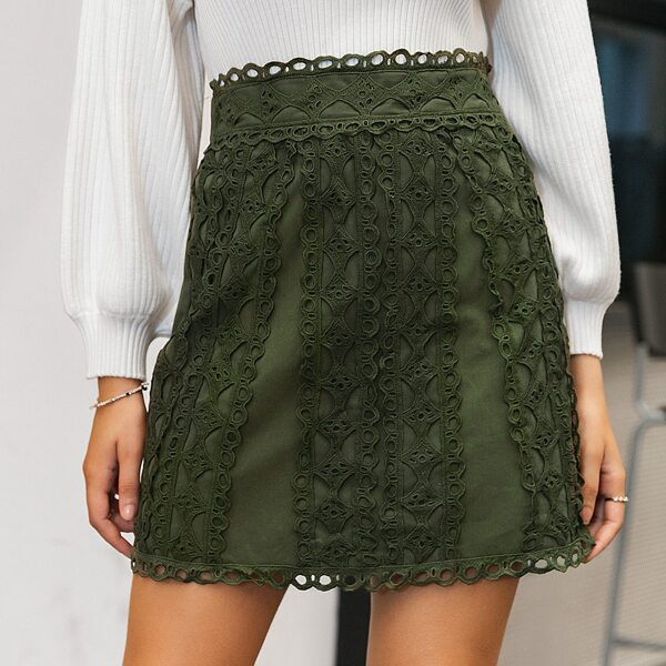 Simplee Zip Back Guipure Lace Panel Skirt, Army green