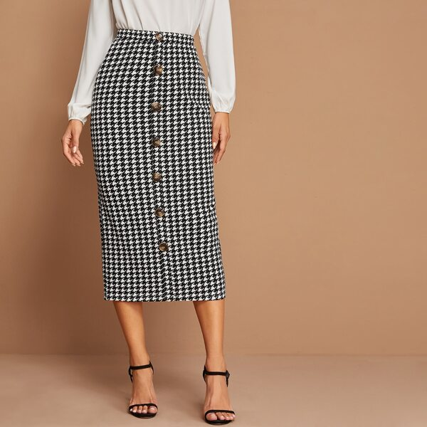 Houndstooth Print Button Detail Pencil Skirt, Black and white