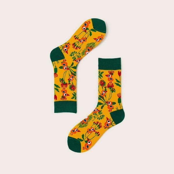 1pair Men Flower & Bird Graphic Socks
