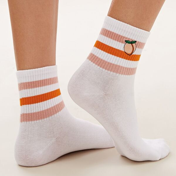 1pair Peach & Striped Graphic Socks, White