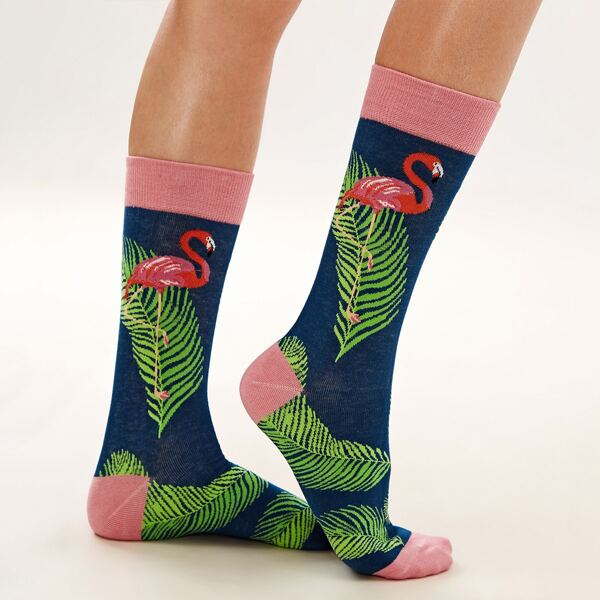 1pair Tropical Graphic Socks, Multicolor