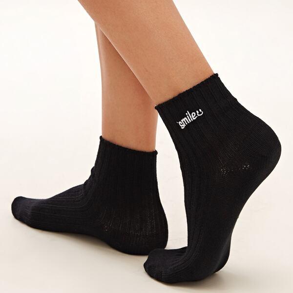 1pair Letter Graphic Socks