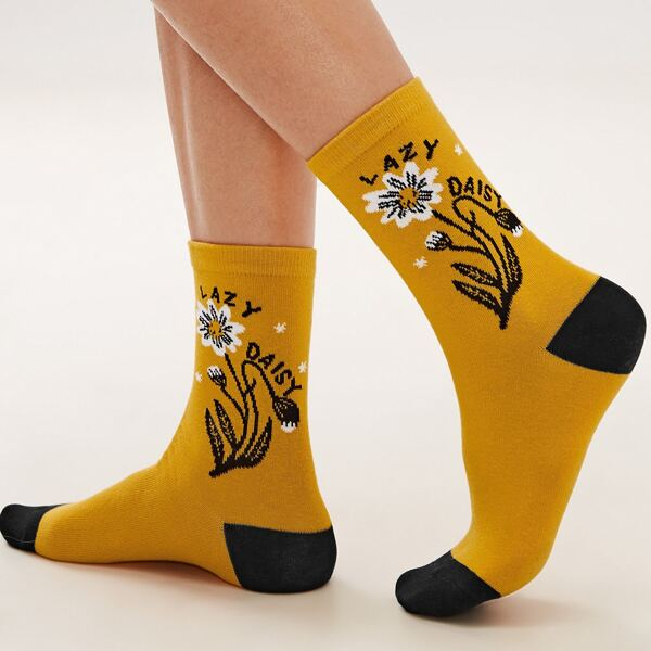 1pair Daisy Graphic Socks