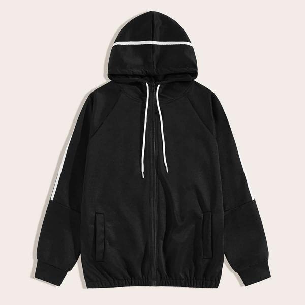 Men Contrast Tape Drawstring Hooded Jacket, Black