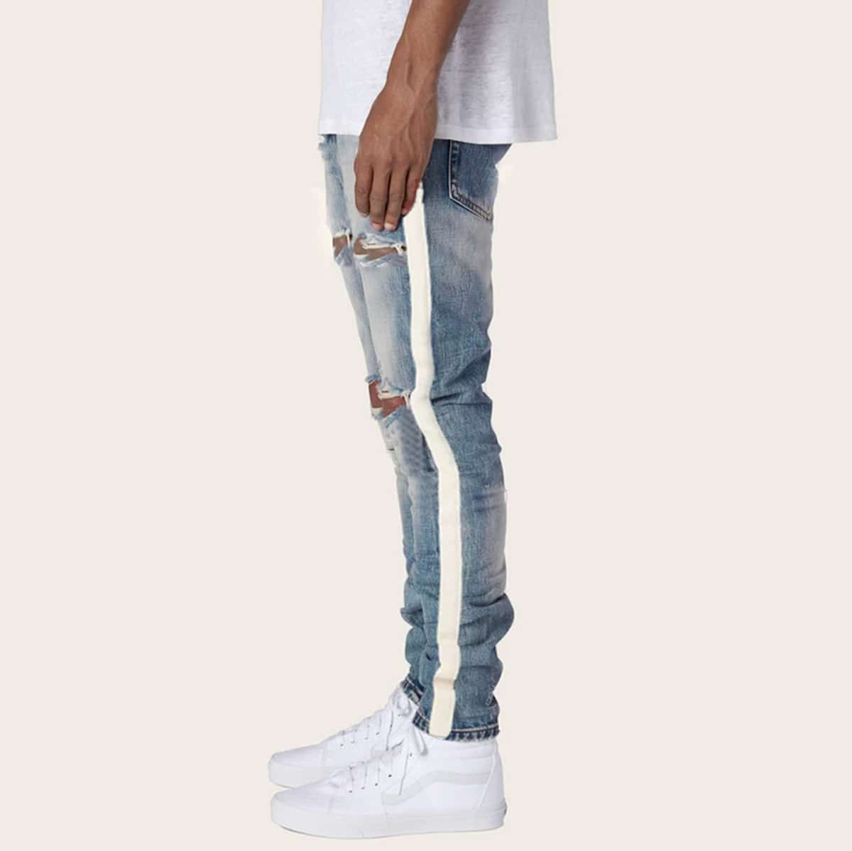 Blauw Casual Kleurblok Heren Jeans Gescheurd