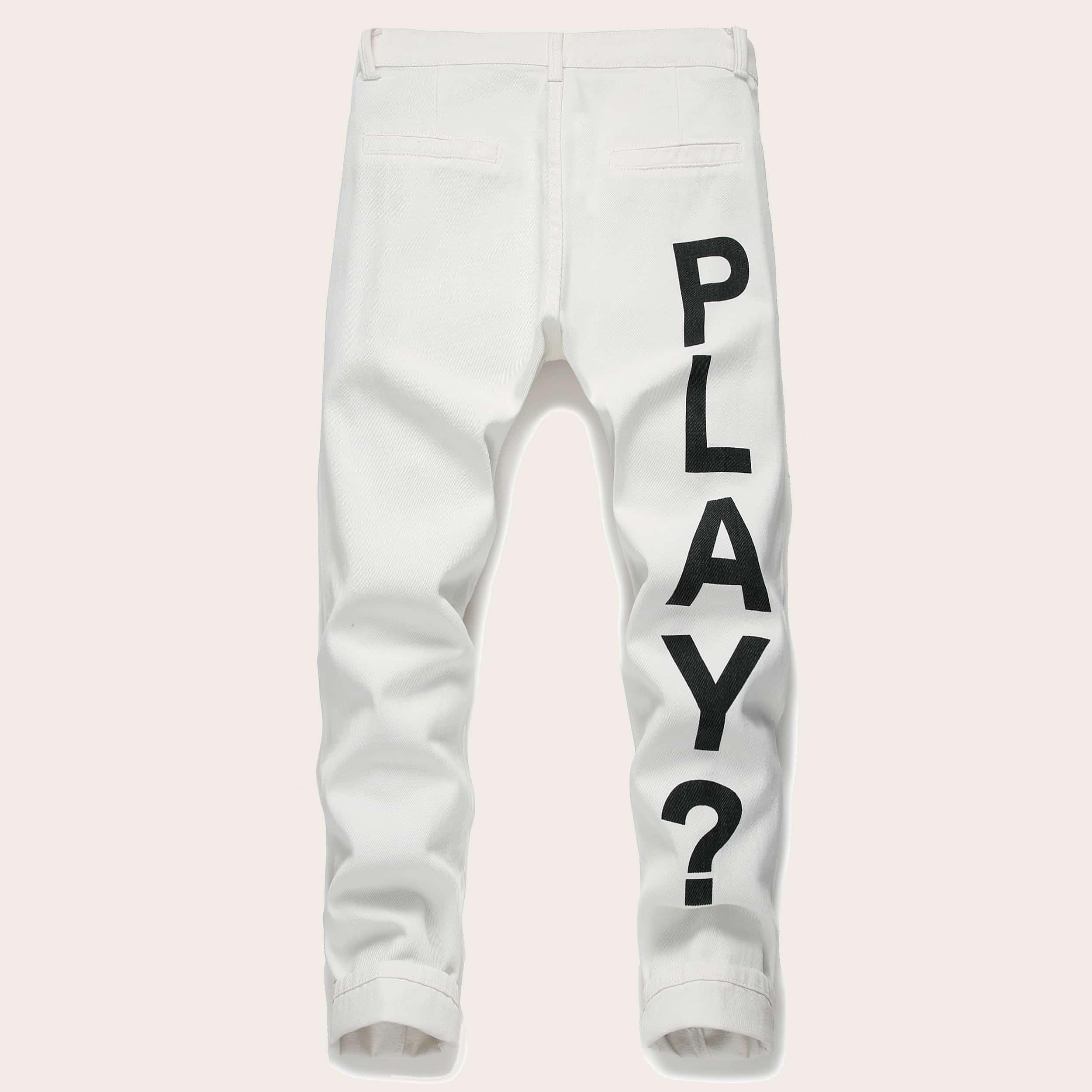 Wit Casual Tekst Heren Jeans