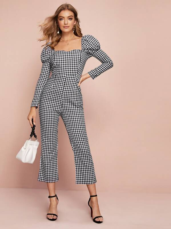 Gingham Square Neck Puff Sleeve Jumpsuit, Luiza