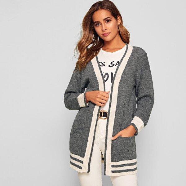 Contrast Trim Pocket Front Striped Cardigan