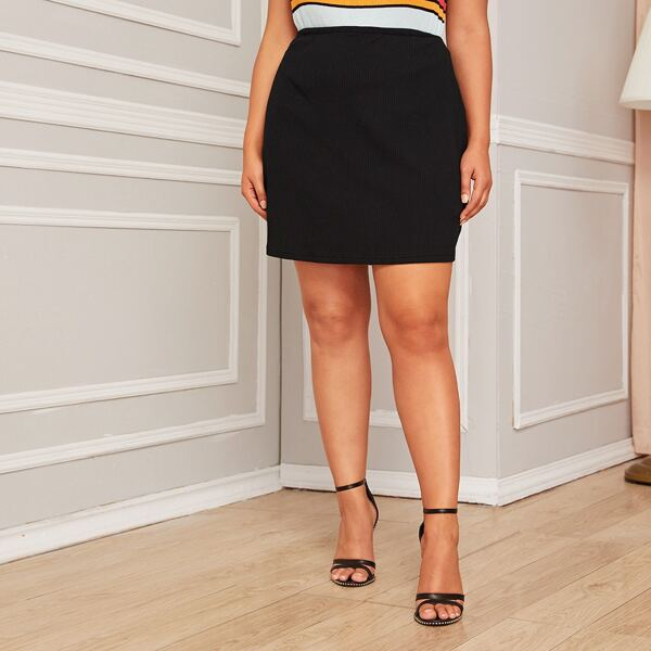 Plus Ribbed Knit Solid Sweater Skirt