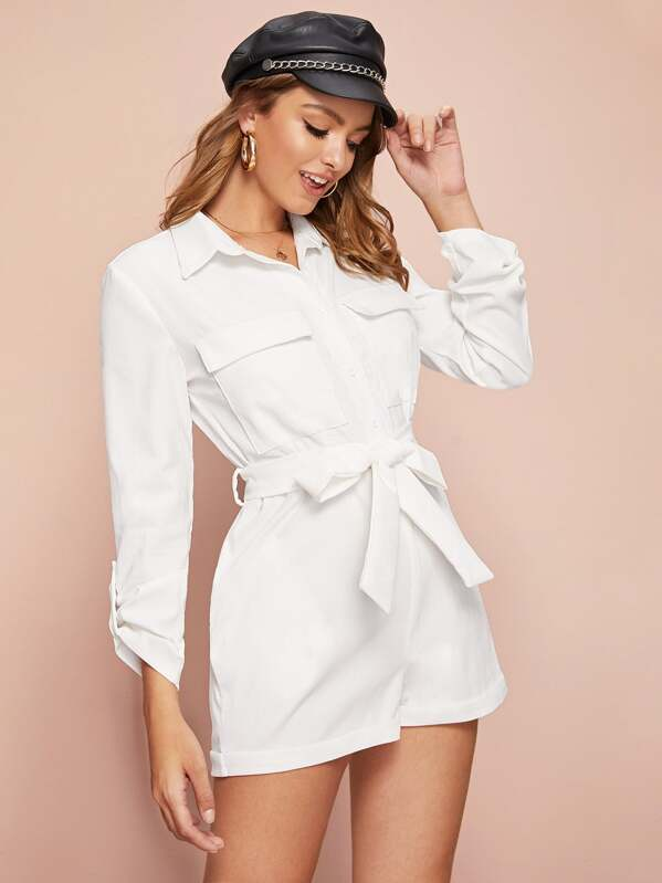 Roll Up Sleeve Belted Corduroy Shirt Romper, Luiza
