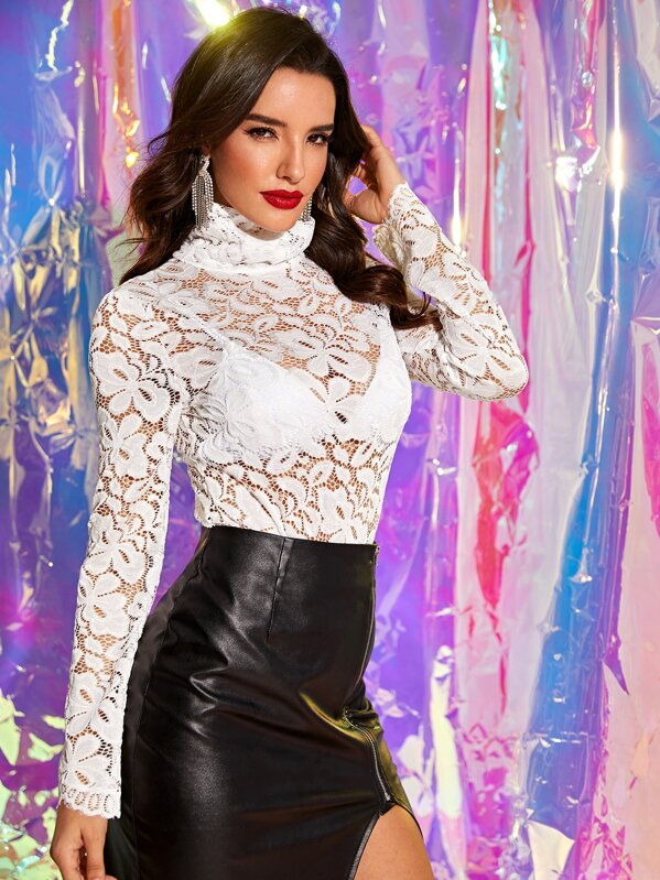 High Neck Sheer Lace Bodysuit, Juliana