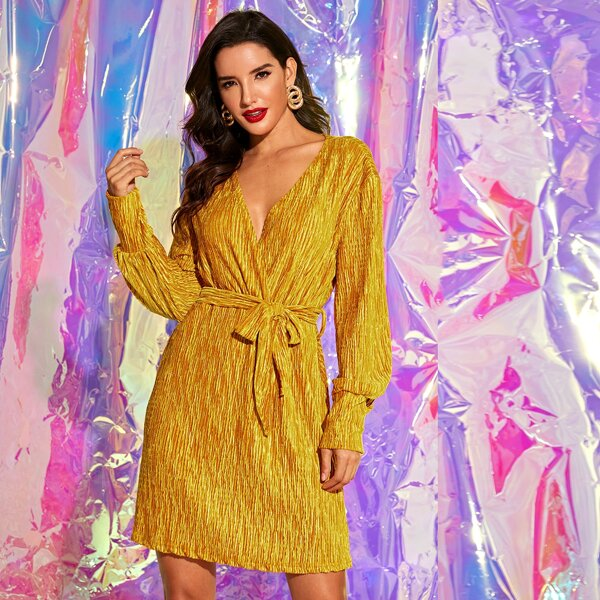 Surplice Neck Self Tie A-line Dress, Yellow