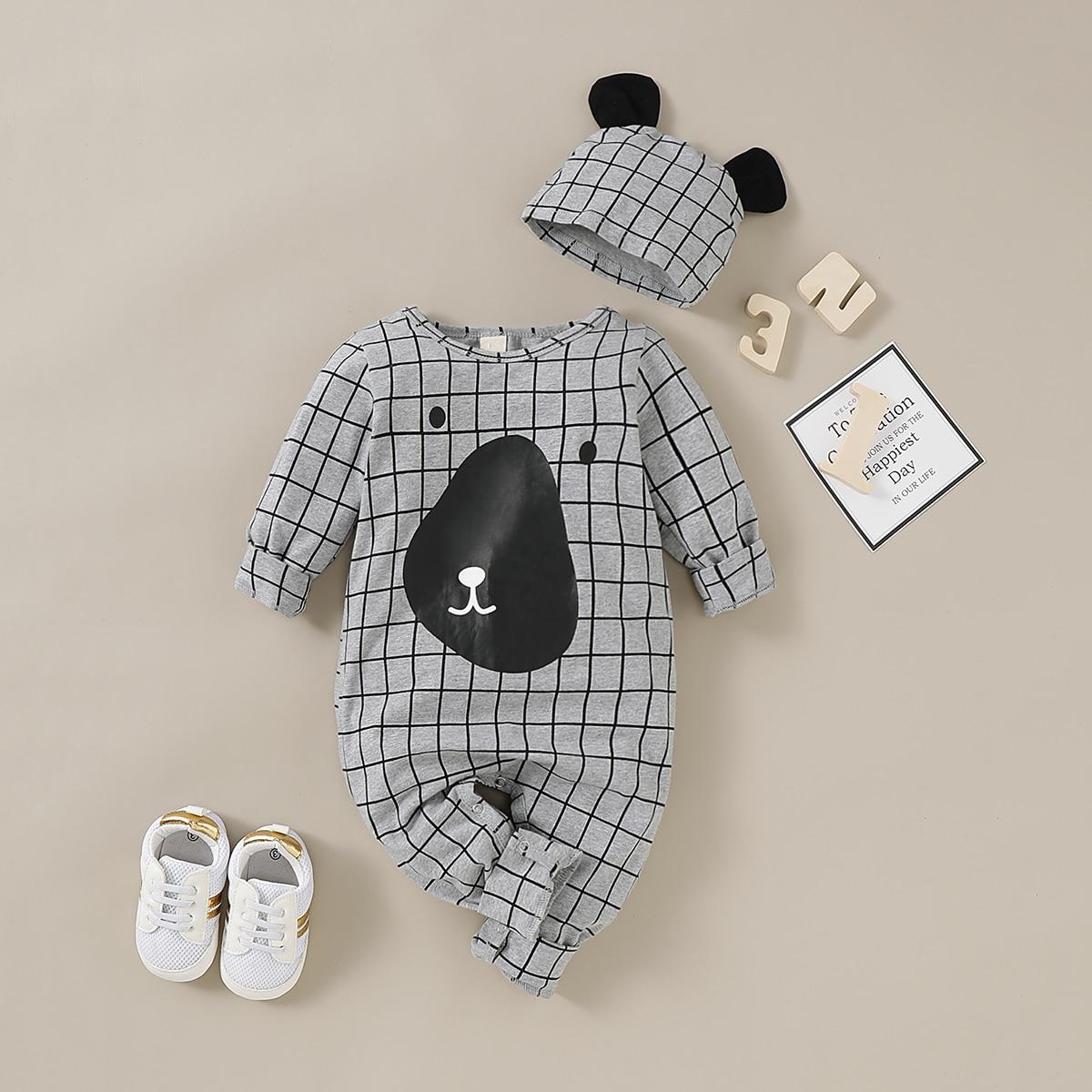 Клетчатый комбинезон с шляпой для мальчиков от SHEIN