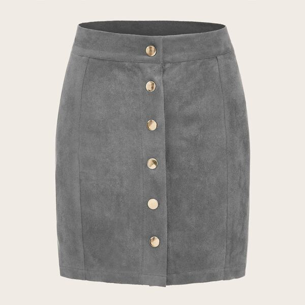 Button Front Straight Suede Skirt
