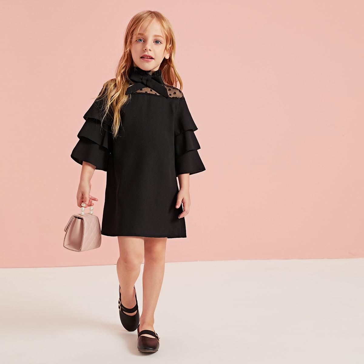 Сетчатое платье с воротником-бантом для девочек от SHEIN
