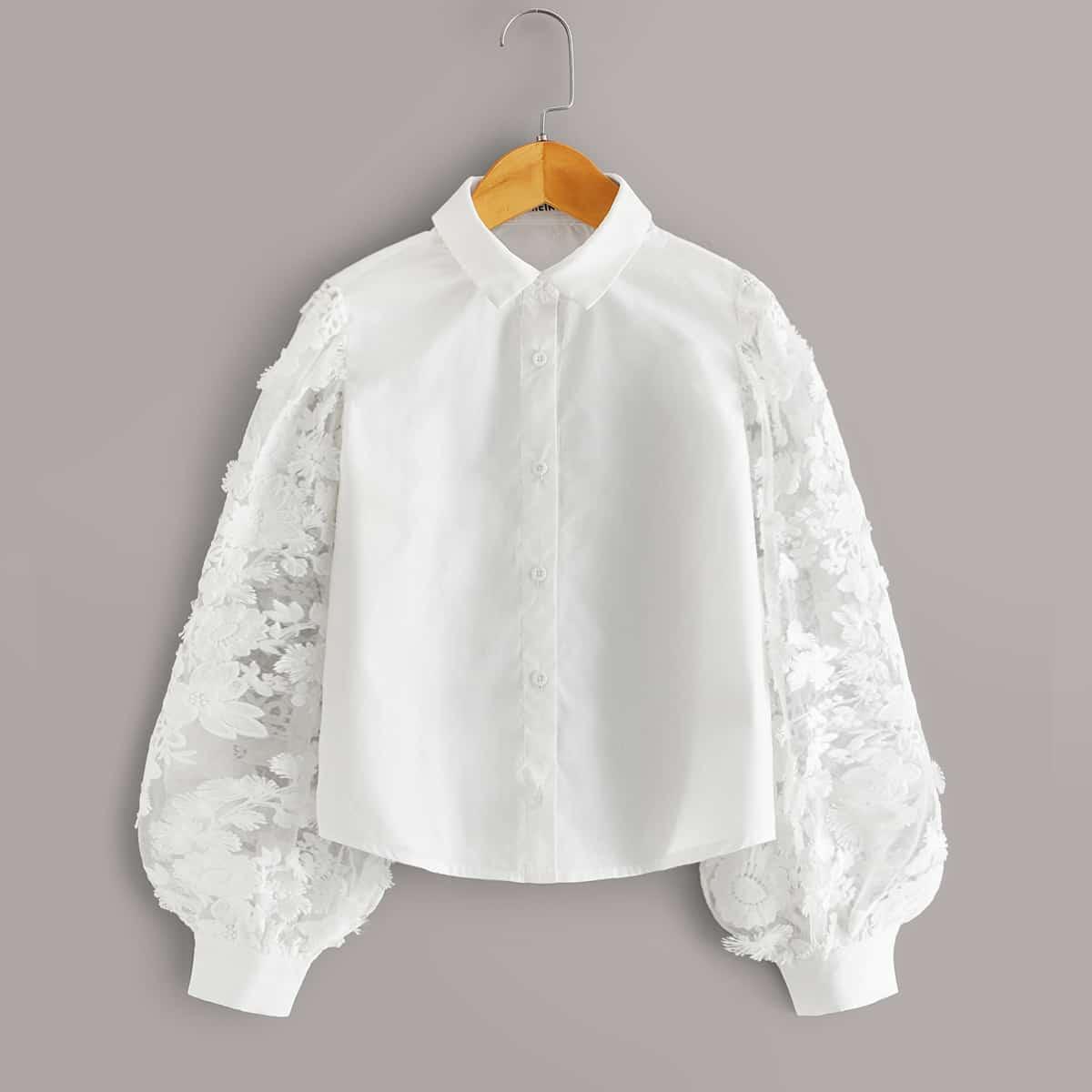 Блуза с сетчатыми рукавами ивышивкой для девочек от SHEIN