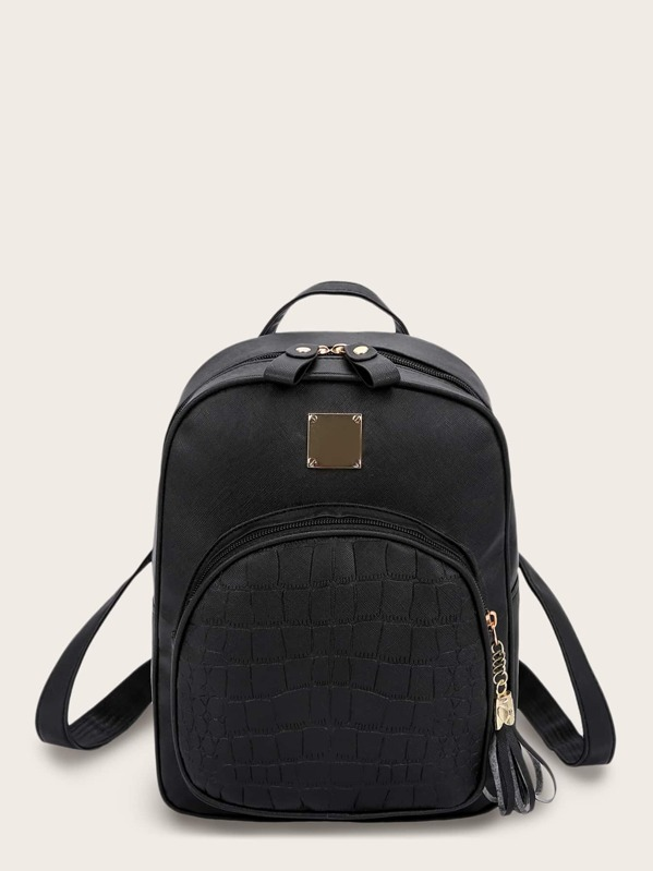 Croc Embossed Tassel Decor Backpack