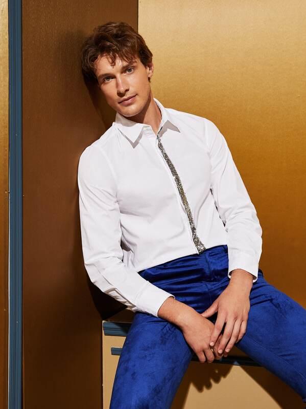Men Contrast Sequin Tape Shirt, White, Petar