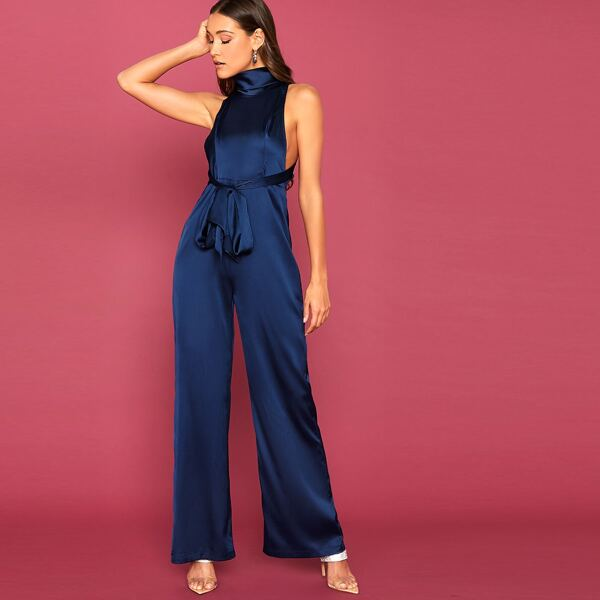 Cowl Neck Tie Front Backless Satin Palazzo Jumpsuit