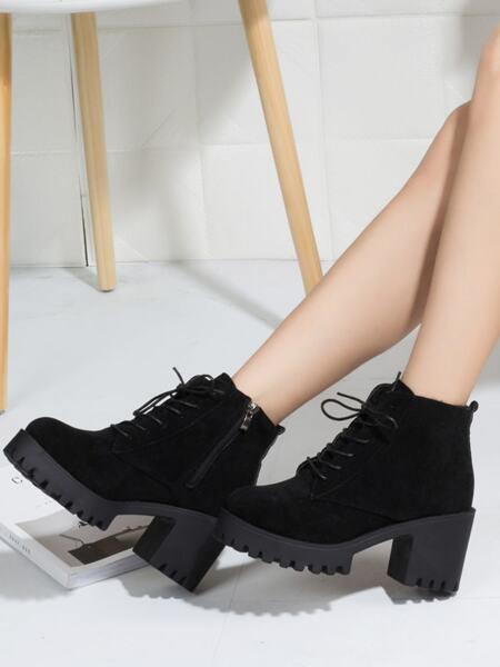 Side Zip Chunky Heeled Lug Sole Boots