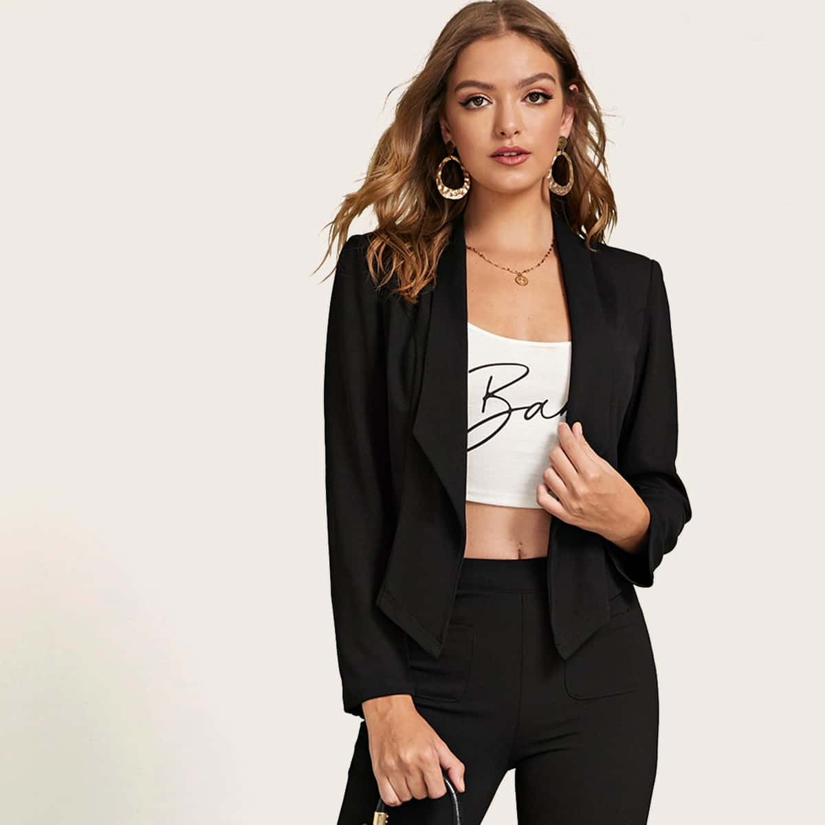 Однотонный пиджак с шалевым вырезом от SHEIN